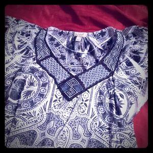 Large black and white designed blouse